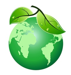 green leaf earth icon vector image vector image