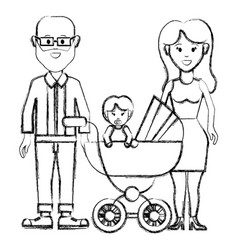 Silhouette happy couple with their baby icon vector