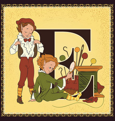 children book cartoon fairytale alphabet letter e vector image