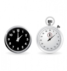 clock and stopwatch vector image vector image