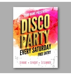 Disco Party Poster Template Night Dance Party vector image vector image