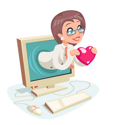 female woman valentin day internet cute happy vector image vector image