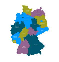Map of germany devided to 13 federal states and 3 vector