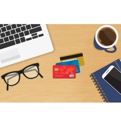 Realistic workplace with three credit cards vector image vector image