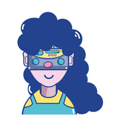 woman with 3d eyeglasses virtual experience game vector image