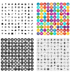 100 childrens parties icons set variant vector image