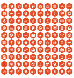100 idea icons hexagon orange vector