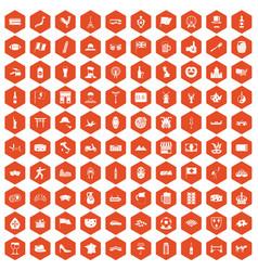 100 tourist attractions icons hexagon orange vector