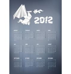 2012 origami dragon calendar vector