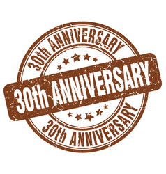 30th anniversary brown grunge stamp vector