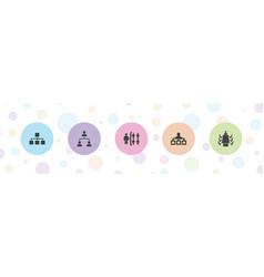 5 organization icons vector