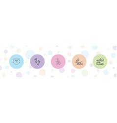 5 walking icons vector