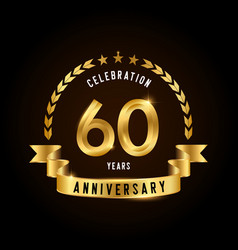 60 years anniversary celebration logotype golden vector