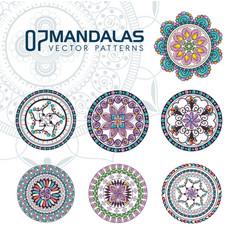 7 mandalas monochrome boho style set vector image