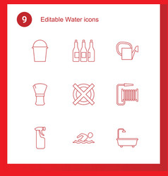 9 water icons vector