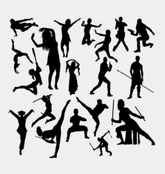 action male and female gesture activity silhouett vector image
