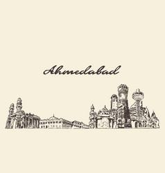 Ahmedabad skyline india hand drawn sketch vector