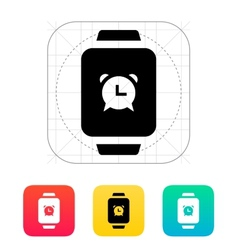 Alarm clock in smart watch icon vector