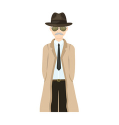 Appearance of the detective man detective in a vector