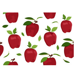 Apple seamless pattern with leaves on a white vector