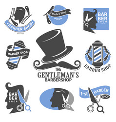barber shop isolated icons hairdressing salon vector image
