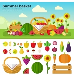 Basket full of fruits and vegetables vector
