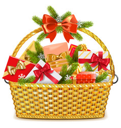 Basket with christmas gifts vector