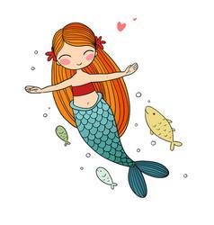 Beautiful little mermaid siren sea theme vector