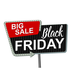 black friday retro light frame retro billboard vector image