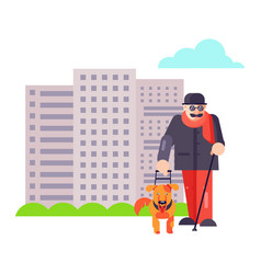 blind guide man walk with best friend dog pet vector image