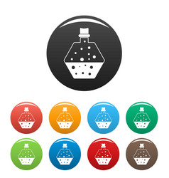 Boiling potion icons set color vector