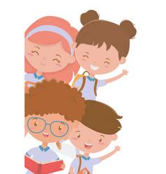 Boys and girls kid school design vector