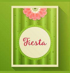 Cactus background with with flower and text frame vector
