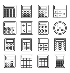 calculator icons set on white background line vector image