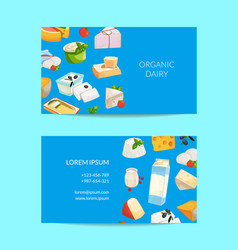cartoon milk and cheese products business vector image