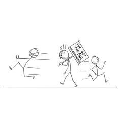 Cartoon sick man with flu walking on the vector