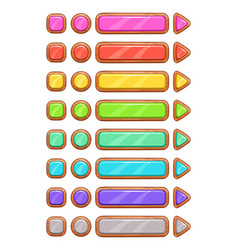 Cartoon wooden buttons set vector