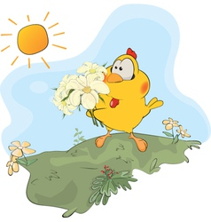 Chicken and flowers cartoon vector image vector image