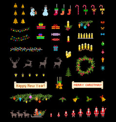 Christmas pixel icons set on black background vector