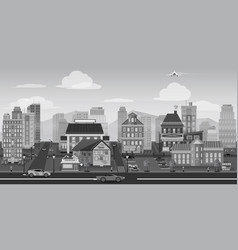 City background black and white landscape for game vector