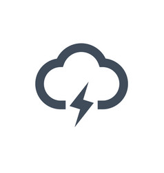 cloud lightning icon thunder storm isolated on vector image