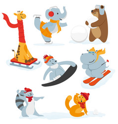 cute animal characters doing winter activities vector image