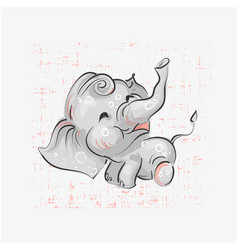 Cute elephant seating hand drawn vector