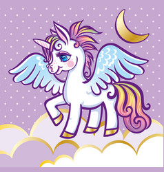Cute unicorn stars clouds and moon greeting card vector