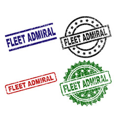Damaged textured fleet admiral seal stamps vector