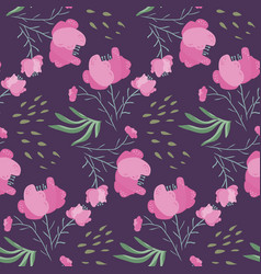 dark night pattern with pink poppy flowers vector image