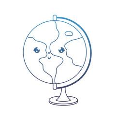 Degraded line kawaii nice global map desk vector