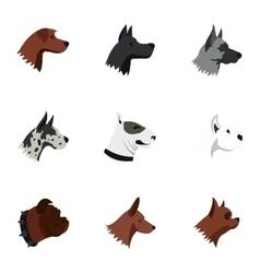 Dog icons set flat style vector image