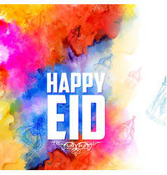 eid mubarak happy eid greetings background for vector image