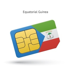 Equatorial Guinea mobile phone sim card with flag vector